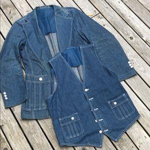 70s Womens Lee Denim Jacket 38R w/Denim Vest 40R